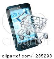 3d Shopping Cart Emerging From A Smart Phone Screen