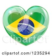 Clipart Of A 3d Reflective Brazilian Flag Heart Royalty Free Vector Illustration