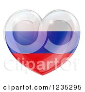Clipart Of A 3d Reflective Russian Flag Heart Royalty Free Vector Illustration
