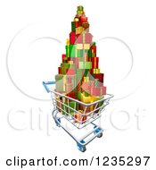 Clipart Of A 3d Shopping Cart With A Stack Of Christmas Presents Royalty Free Vector Illustration