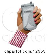 Clay Sculpture Clipart Hand Holding A Silver Cell Phone Royalty Free 3d Illustration