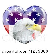 Clipart Of A Bald Eagle Head Over An American Flag Heart Royalty Free Vector Illustration
