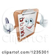 Clipart Of A Happy Survey Clipboard Holding A Pen And Thumb Up Royalty Free Vector Illustration by AtStockIllustration