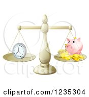 Clipart Of Balanced Scales With Time And A Piggy Bank Royalty Free Vector Illustration