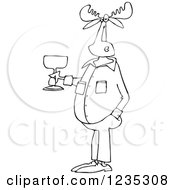 Clipart Of A Black And White Casual Moose Holding A Glass Of Wine Royalty Free Vector Illustration