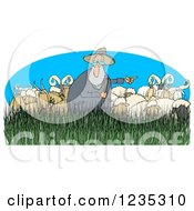 Clipart Of A Pointing Shepherd In Tall Grass With Sheep Rams Royalty Free Illustration