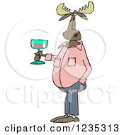 Clipart Of A Casual Moose Holding A Glass Of Wine Royalty Free Vector Illustration