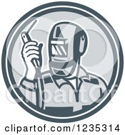 Clipart Of A Retro Welder Worker In A Gray Circle Royalty Free Vector Illustration by patrimonio