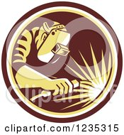 Clipart Of A Retro Welder Worker In A Brown And Yellow Circle Royalty Free Vector Illustration by patrimonio