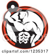 Clipart Of A Retro Black And White Bodybuilder With A Dumbbell Over A Red And White Circle Royalty Free Vector Illustration