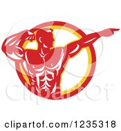Clipart Of A Red Retro Bodybuilder Flexing And Pointing Over A Circle Royalty Free Vector Illustration
