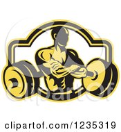 Yellow And Black Retro Bodybuilder With A Barbell