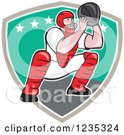 Clipart Of A Cartoon Baseball Catcher Man Crouching Over A Shield Royalty Free Vector Illustration
