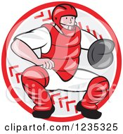 Clipart Of A Cartoon Baseball Catcher Man Crouching Over A Ball Royalty Free Vector Illustration