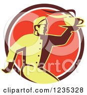 Clipart Of A Retro Chef Running With Hot Soup On A Red Circle Royalty Free Vector Illustration