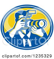 Clipart Of A Retro Male Photographer In A Blue And Yellow Oval Royalty Free Vector Illustration