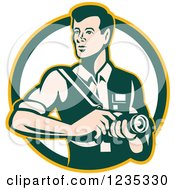 Clipart Of A Retro Male Photographer In A Circle Royalty Free Vector Illustration