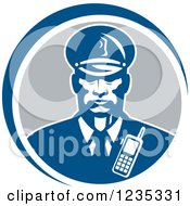 Clipart Of A Retro African American Security Guard In A Blue And Gray Circle Royalty Free Vector Illustration by patrimonio