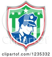 Clipart Of A Retro Police Man In An American Shield Royalty Free Vector Illustration by patrimonio