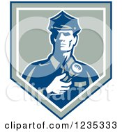 Clipart Of A Retro Police Man With A Flashlight In A Shield Royalty Free Vector Illustration by patrimonio