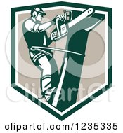 Clipart Of A Retro Arborist Tree Trimmer Using A Saw In A Shield Royalty Free Vector Illustration