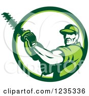 Clipart Of A Retro Male Arborist Using A Chain Saw In A White And Green Circle Royalty Free Vector Illustration