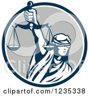 Retro Blindfolded Lady Justice Holding Scales In A Blue And Gray Circle
