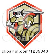 Clipart Of A Retro Roman Centurion Soldier Holding Up His Sword Over A Shield Royalty Free Vector Illustration by patrimonio
