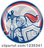 Clipart Of A Retro Knight With An Axe And Shield In A Red White And Gray Circle Royalty Free Vector Illustration by patrimonio