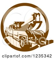Clipart Of A Retro Brown And Tan Tow Truck In A Circle Royalty Free Vector Illustration