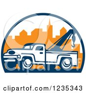 Clipart Of A Retro Tow Truck Over A City Royalty Free Vector Illustration by patrimonio