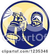Clipart Of A Retro Man Spraying Paint Or Pesticide In A Circle Royalty Free Vector Illustration by patrimonio