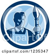 Clipart Of A Retro Male Artist With A Paintbrush In A Blue Circle Royalty Free Vector Illustration
