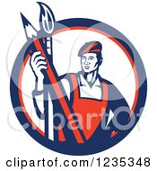 Clipart Of A Retro Male Artist With A Paintbrush And A Pencil In A White Red And Blue Circle Royalty Free Vector Illustration
