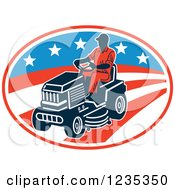 Clipart Of A Man Riding A Lawn Mower Over An American Stars And Stripes Oval Royalty Free Vector Illustration
