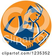 Clipart Of A Retro Male Butcher Holding A Meat Cleaver Knife In A Blue And Orange Circle Royalty Free Vector Illustration