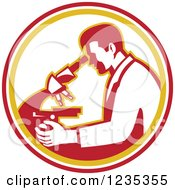 Clipart Of A Retro Scientist Using A Microscope In A White Orange And Red Circle Royalty Free Vector Illustration