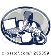 Poster, Art Print Of Retro Computer Repair Man With A Cable And Laptop In A Gray Oval