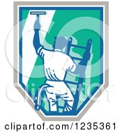 Clipart Of A Retro Window Washer On A Ladder And Shield Royalty Free Vector Illustration