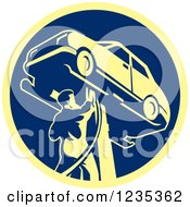 Clipart Of A Retro Auto Mechanic Working On A Car On A Lift In A Blue And Yellow Circle Royalty Free Vector Illustration