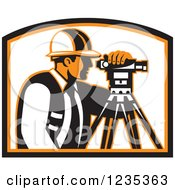 Clipart Of A Retro Surveyor Using A Theodolite Royalty Free Vector Illustration by patrimonio