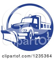 Clipart Of A Retro Blue And White Snow Plow In A Circle Royalty Free Vector Illustration by patrimonio