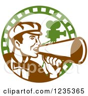 Clipart Of A Retro Male Director Using A Bullhorn In A Film Strip Circle Royalty Free Vector Illustration by patrimonio