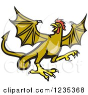 Clipart Of A Winged Rooster Snake Basilisk Royalty Free Vector Illustration by patrimonio