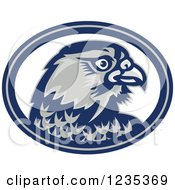 Clipart Of A Retro Falcon Head In A Blue And White Oval Royalty Free Vector Illustration