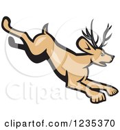 Clipart Of A Cartoon Running Horned Rabbit Jackalope Royalty Free Vector Illustration