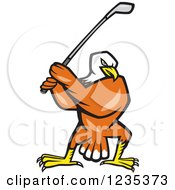 Clipart Of A Bald Eagle Swinging A Golf Club Royalty Free Vector Illustration