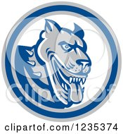 Clipart Of A Retro Guard Dog In A Blue White And Gray Circle Royalty Free Vector Illustration