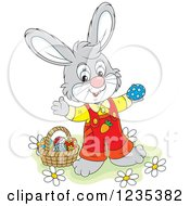 Clipart Of A Happy Gray Male Easter Bunny Standing By A Basket Of Eggs Royalty Free Vector Illustration