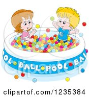Clipart Of Caucasian Children Playing In A Ball Pool Royalty Free Vector Illustration by Alex Bannykh